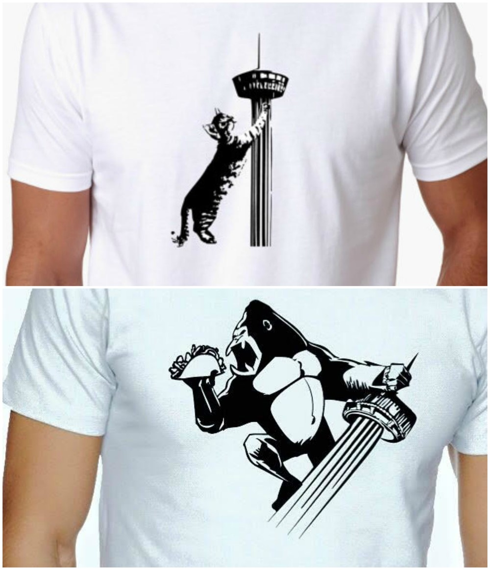 Top:   Scratch Post Tower of Americas tee  ; Bottom:   Taco Kong tee  . (Photos courtesy of BAXTER.)