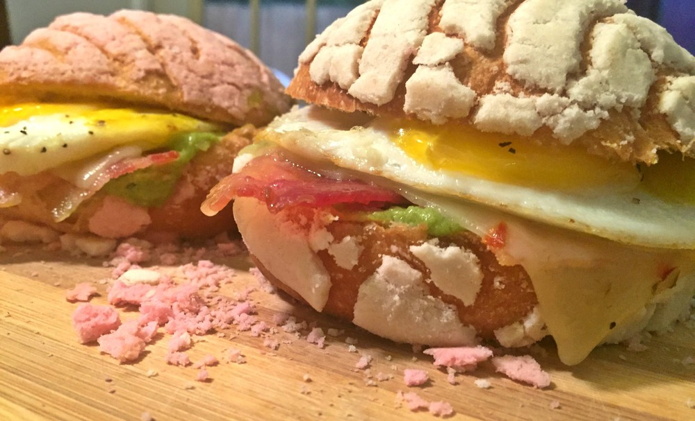 The end result: my very own concha breakfast sandwiches. Concha goodness!