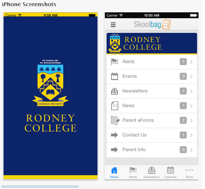 Rodney College, Skoolbag App for parent and student community. Download this App to be kept up to date with everything that is happening at RC. It features Events, News, School Enews Newsletters, Documents, and push notification alerts direct from the school.