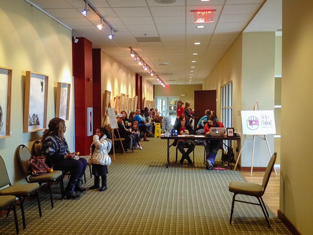 The lobby during Help-Portrait. Bristol Public Library, Bristol, VA.