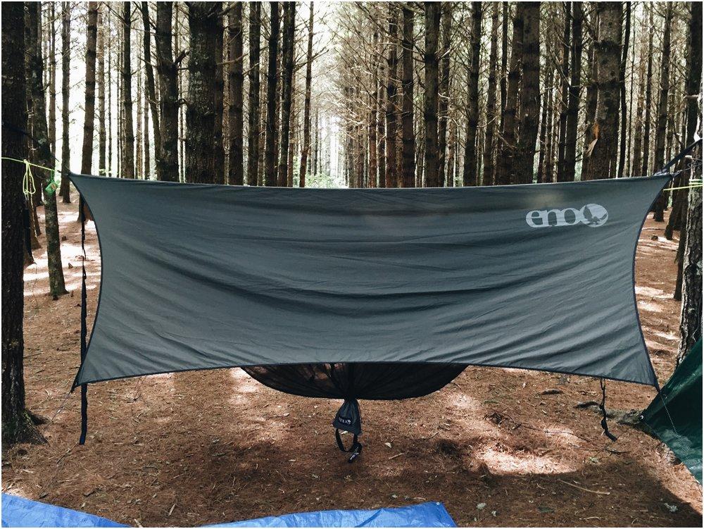 My hammock set up with Elizabeth's rain fly.