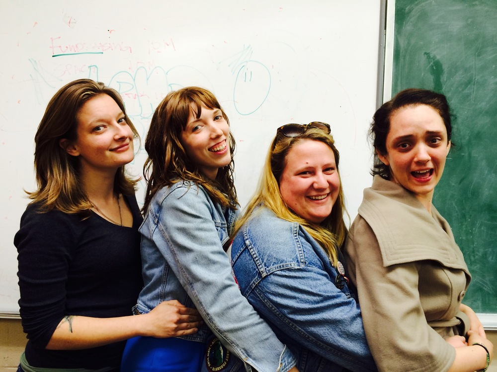 Posing for prom. Kat Davis (Lights), Alyson Calder (Co-Artistic Director), Erin Ohland (Set), and Moriah Turner (Costume) [L-R]