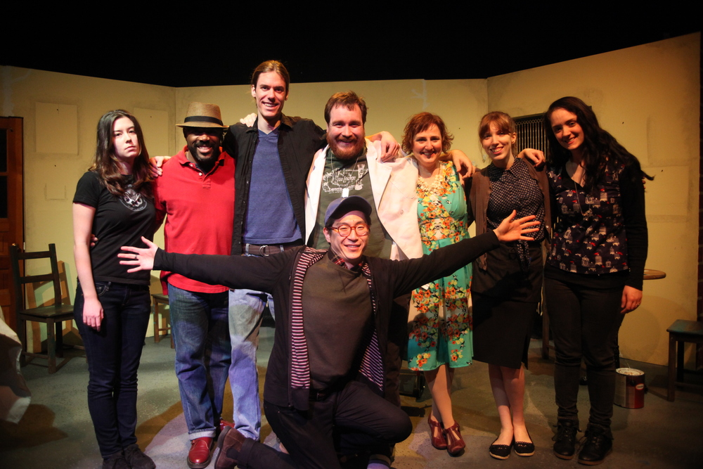 (L to R) Angela Sibille (Board), Michael Rawlins (Steve), August Lysy (Hand), John Morisson (Chef), Larry Bao (Director), Shannon Huneryager (Cindy), Alyson Calder (Server), Moriah Lee Turner (Costume Design). Not Pictured: Erin Ohland (Set Design), Cat Davis (Light Design), Paul Hovey (Board), Paul Zdon (Graphic Design).