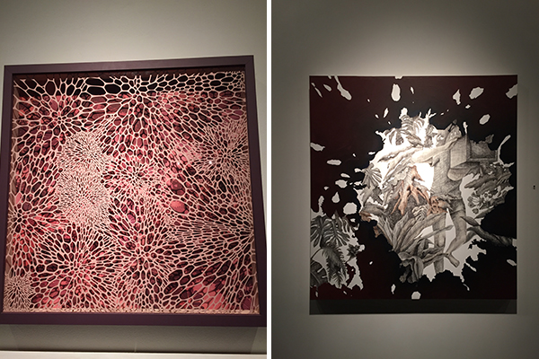"left, ""raspberry cream"" by lauren kussro and right, ""i saw that"" by hwahyun kim"