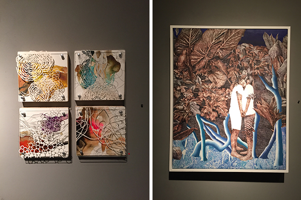 "left, ""biological fragment"" by niki zarrabi and right, ""dream #1"" by hwahyun kim"