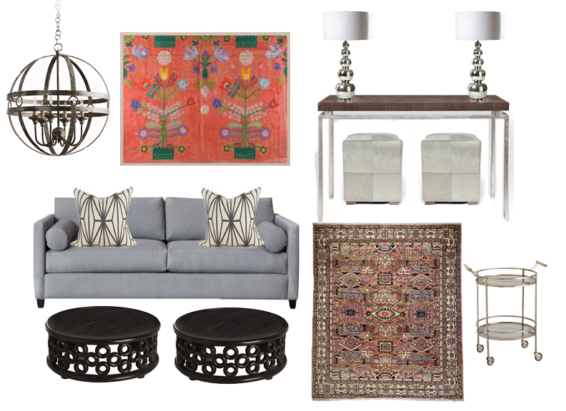Chandelier  //  Art  //  Console  //  Coffee Tables  //  Ottomans  //  Pillows  //  Rug  //  Bar Cart  // Table Lamps