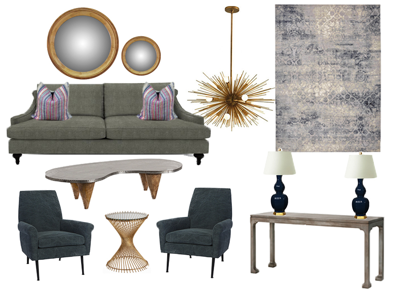 Mirrors //  Chandelier  //  Sofa & Chairs  //  Coffee Table  //  Side Table  //  Console Table  //  Rug  //  Table Lamps  //  Pillows