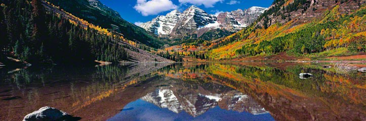 The reflection he caught is so stunning!  Maroon Bells , Courtesy of Peter Lik.