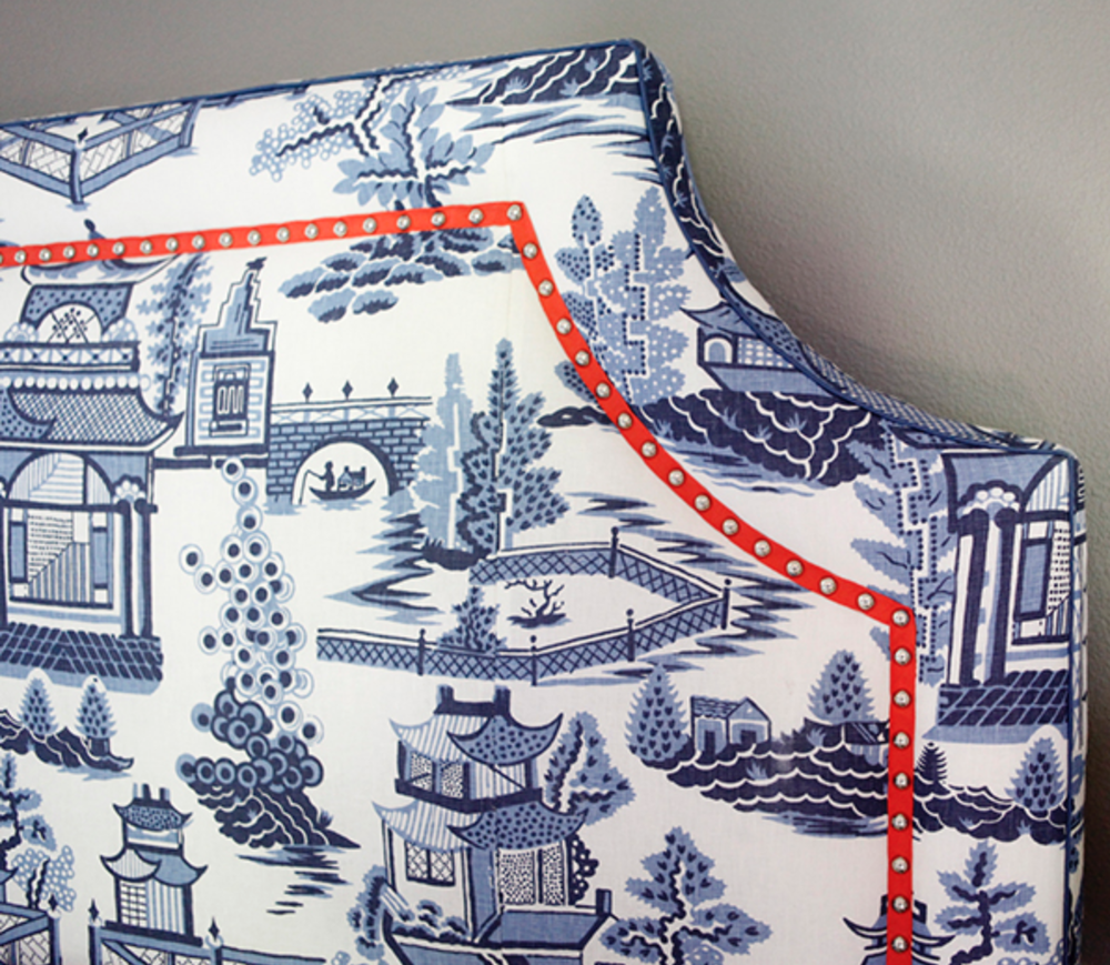 A beautiful orange tape with railheads added to this graphic blue print is sharp. Image via Kyle Knight Design
