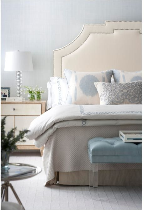 By keeping the surrounding decor soft, this bedroom is a peaceful escape.  {Image via Pinterest}