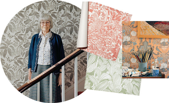 {Marthe Armitage surrounded by some of her creations; Image via  Rita Konig/New York Times T Magazine Blog }