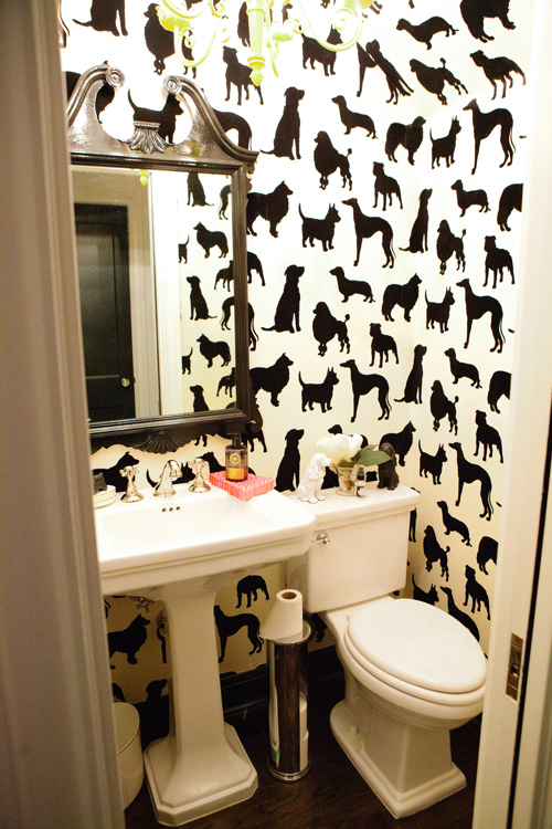 I had to throw this in.  My kids have been begging for a dog... do you think this wallpaper would suffice?  ;)  {Via  Design Sponge }  You can find this wallpaper  here !