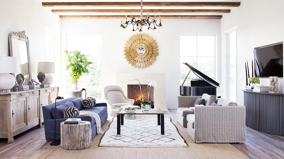 The soft tones, natural wood, layers of texture, and a mix of classic and modern pieces create the perfect relaxed space!{Via  Domaine Home }