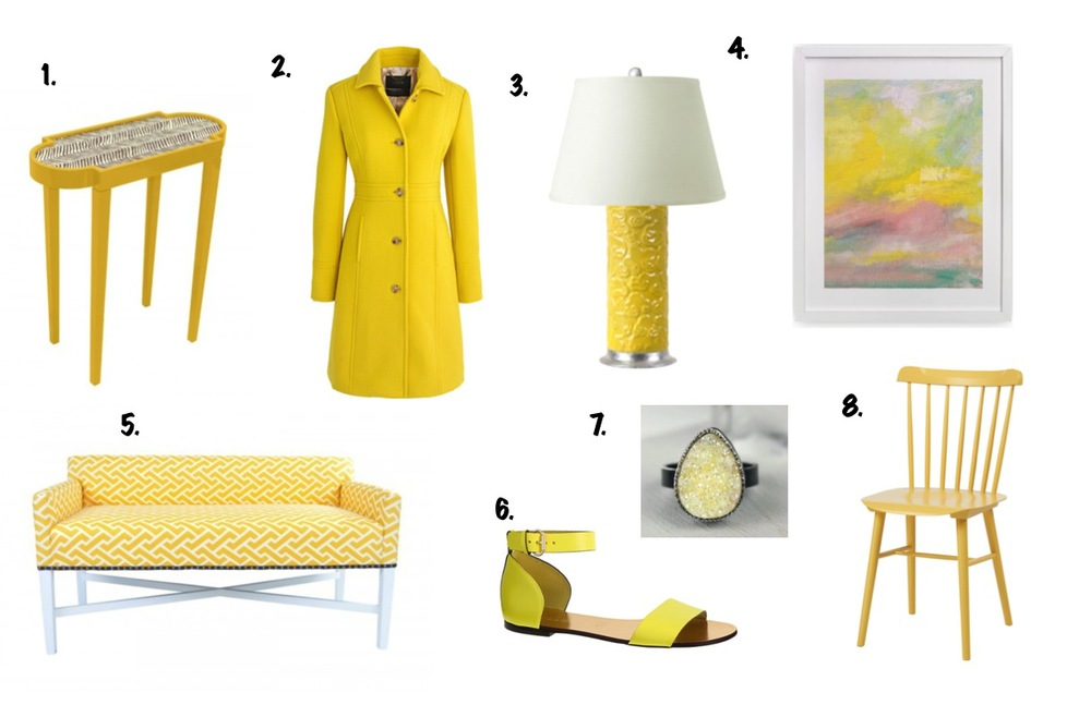 "1. Oomph Tini II Z Table / 2 J. Crew Lady Coat / 3 Shangrila Lamp / 4 ""Summer Sky"" Limited Edition Art / 5 Oomph X Bench / 6 J. Crew Marbella Sandal / 7 Yellow Druzy Statement Ring / 8 Serena and Lily Tucker Chair"