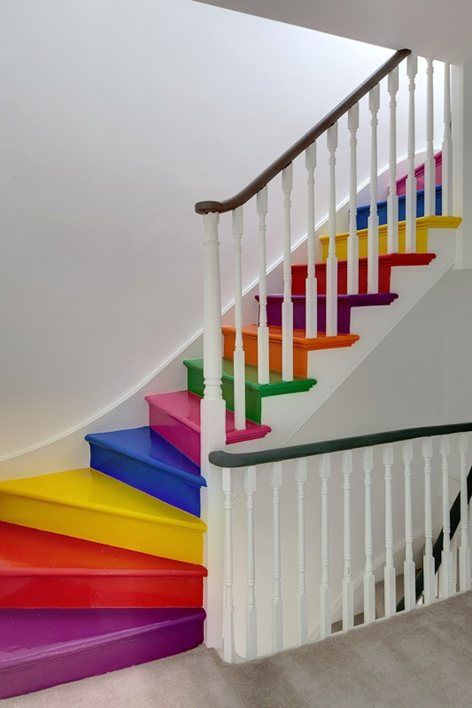 A painted staircase in a London residence.  Bright and cheery! {Via Pinterest}