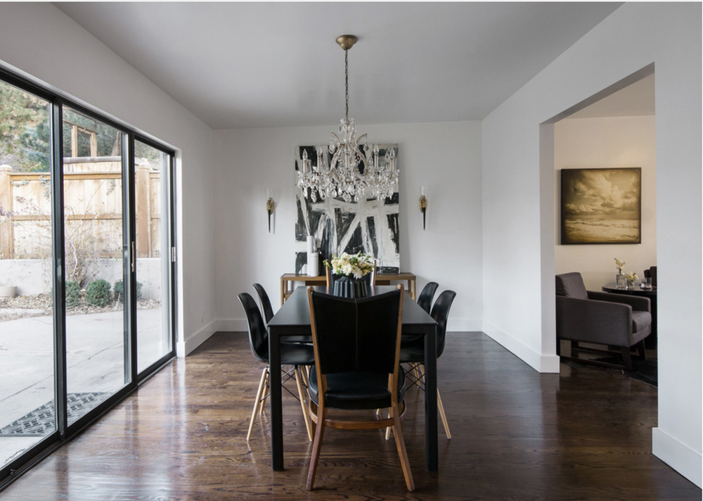 The overall design here is so clean.  The large black and white artwork adds just enough drama.  VIa Houzz