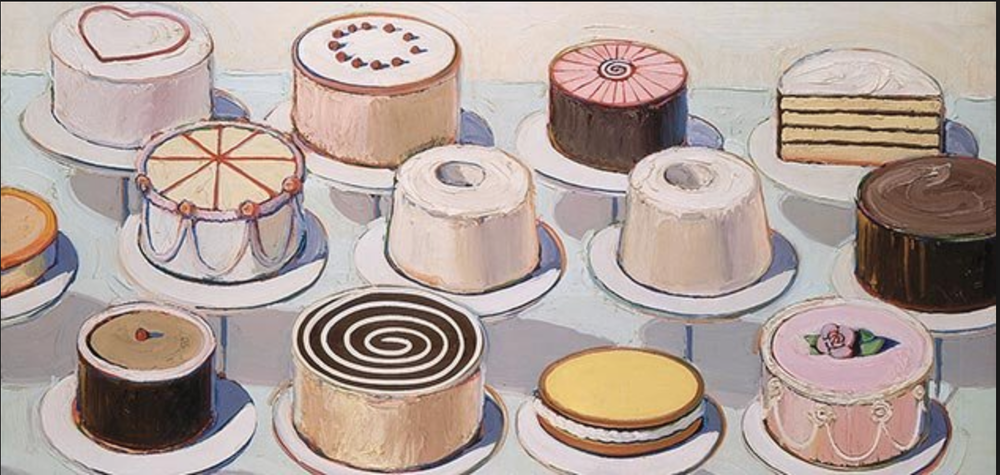 "Wayne Thiebaud, ""Cakes"" 1962, Oil on Canvas"