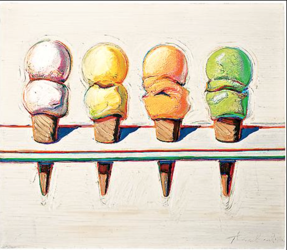 "Wayne Thiebaud, ""Four Ice Cream Cones"" 1964, Oil on Canvas"