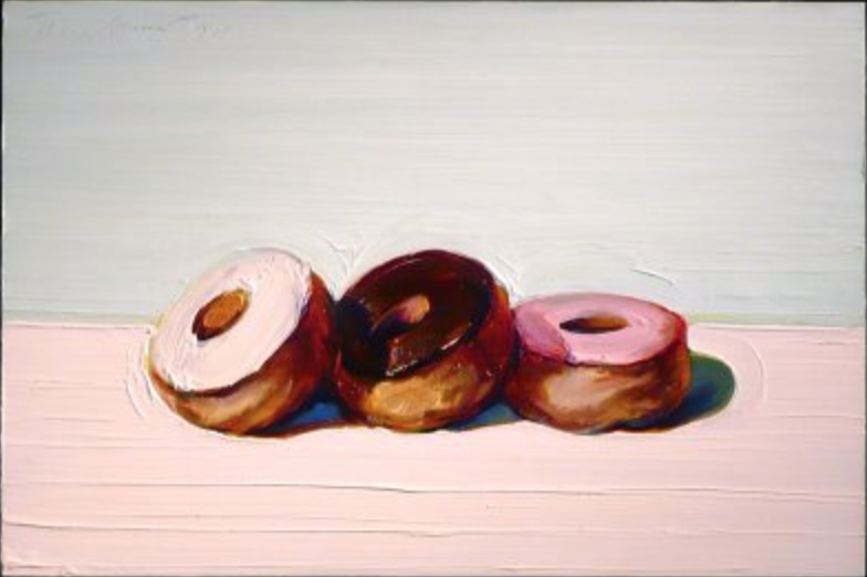 "I love how thick the oil paint is here... such a great texture.  Wayne Thiebaud, ""Donuts"""