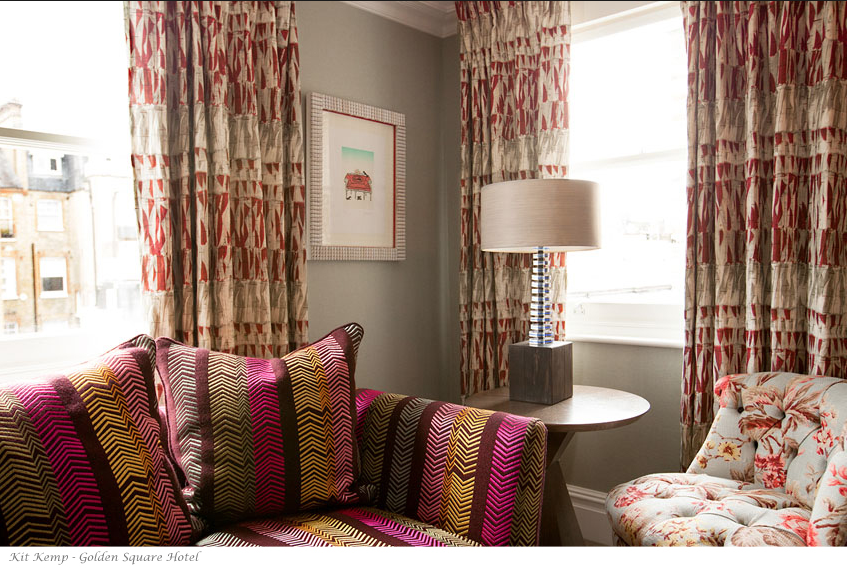 Who would have thought to combine all these different patterns in one space? I know to some this might be a little too much, but it is so interesting to see the play on pattern and color. {Via  www.firmdalehotels.com }
