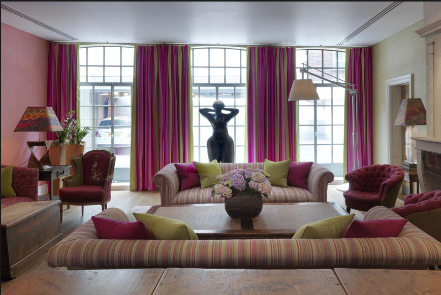 Stripes on stripes with varying scale totally works! {Via  www.firmdalehotels.com }