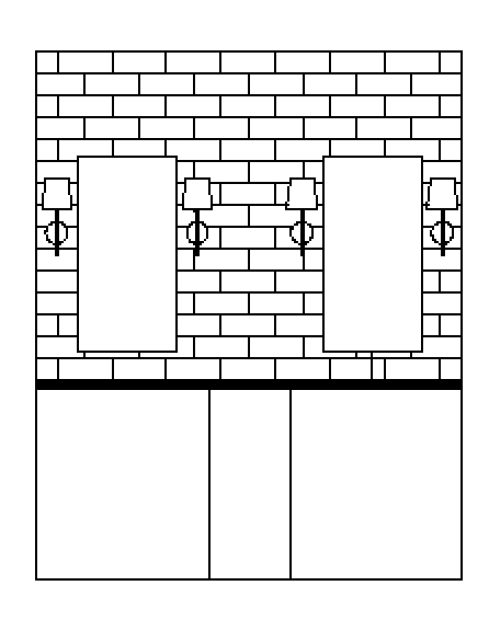 My CAD drawing showing tile design and lighting and mirror placement in the master bath.