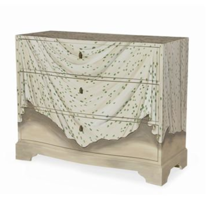 "Her Louisville Hand Painted Chest by Charlotte Moss for Century Furniture  As a side note, the ""fabric"" totally reminds me of the popular, ""Les Touches"" fabric by Brunschwig & Fils!"