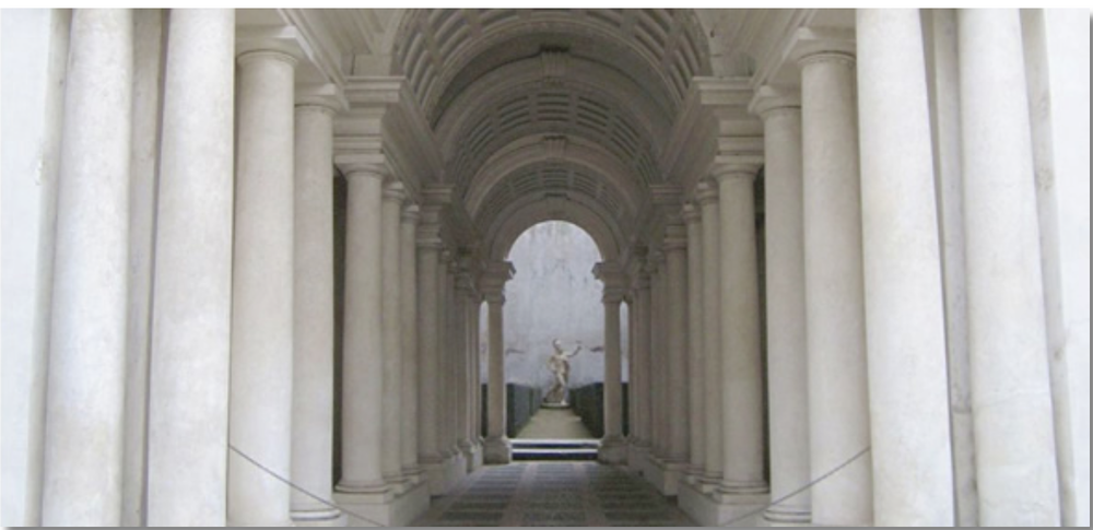 Borromini's trompe l'oeil (1540).  The corridor seems to go on for approximately 120 feet, with a huge statue on a pedestal in the courtyard at the far end.  In reality, it is just 29 feet long.  {Via Reid's Italy}