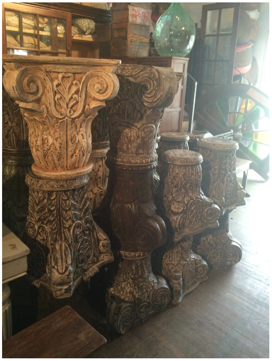 These pedestals at the Golden Oldies Antiques could serve as a plant stand or even stand alone because they were that beautiful!