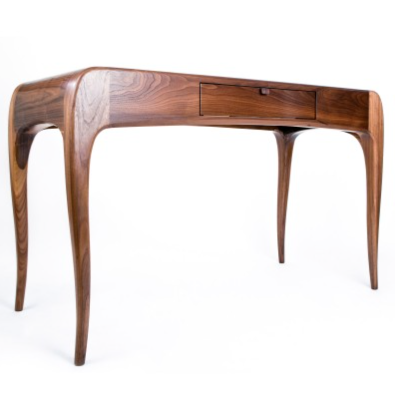 "Hand carved ""Hayworth"" desk with paneled top and pencil drawer {Via  Caleb Woodard Furniture }"