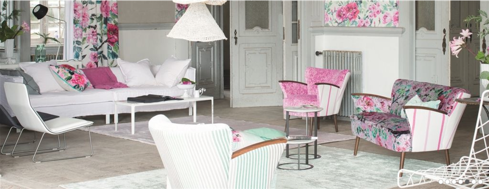 Stripes and florals together are always lovely! {Via  Designers Guild }