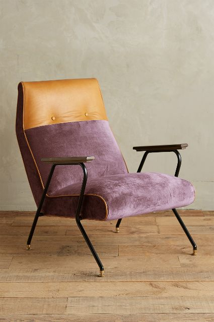 Anthropologie  has even jumped on board with this! Gorgeous combination of leather and velvet and even a contrast welt.