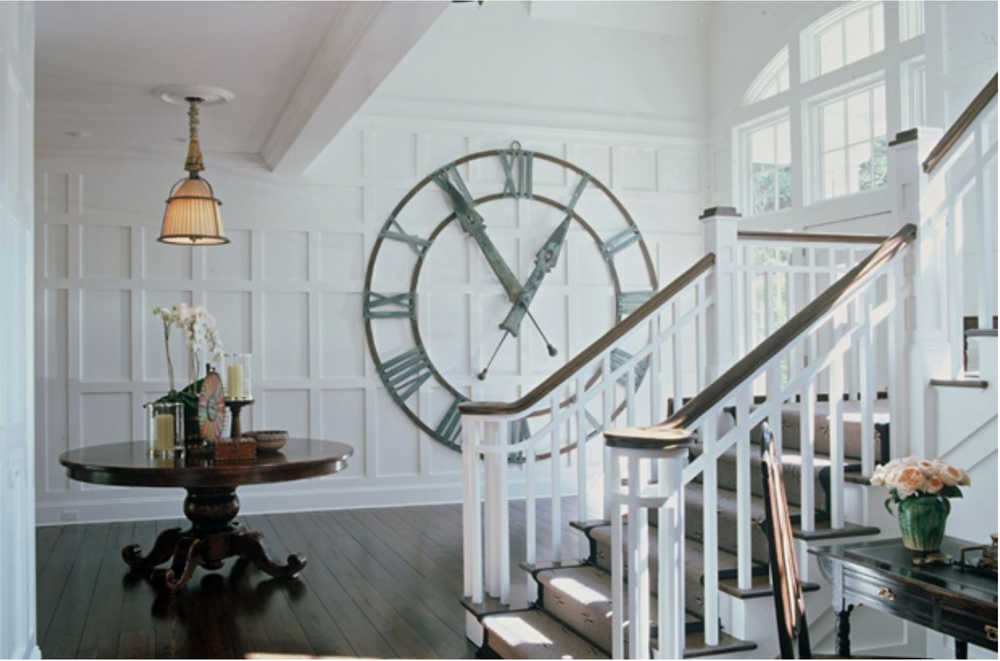 The scale and industrial feel of this clock is unexpected, though the Roman Numerals are in line with the more traditional decor and paneling. {Via Pinterest}