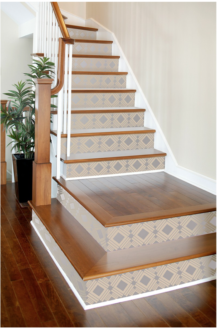A brand new look for your stairs.  {Via Tempaper}