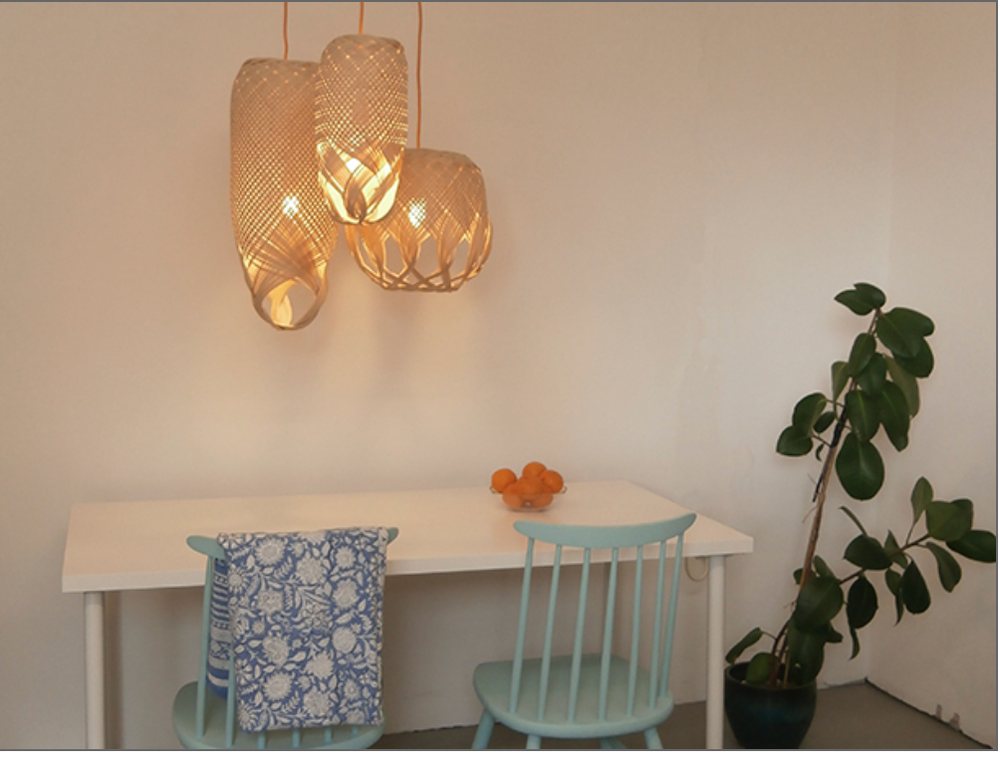 Hand woven light fixtures.   PREN woven lights  by Louise Tucker.