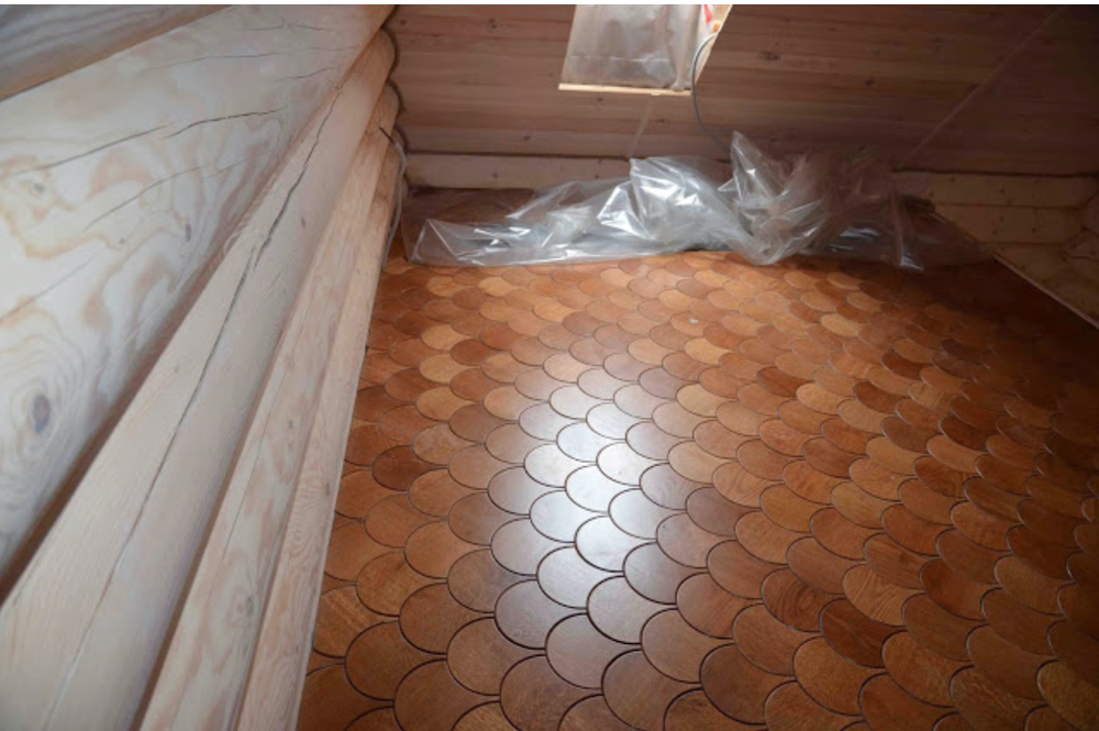A space in process with the Lotus flooring.  Totally makes me think of the Deco/Nouveau periods.  {Via  Jamie Beckwith Blog }