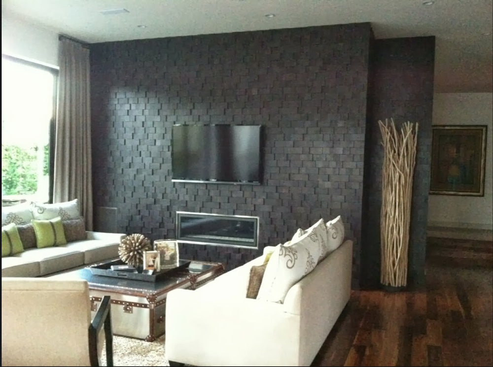 "An install photo of the ""linear"" wall.  Love this in lieu of the oft-used stone surround. {Via  Jamie Beckwith Blog }"
