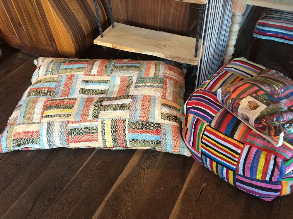 Handwoven floor pillows.