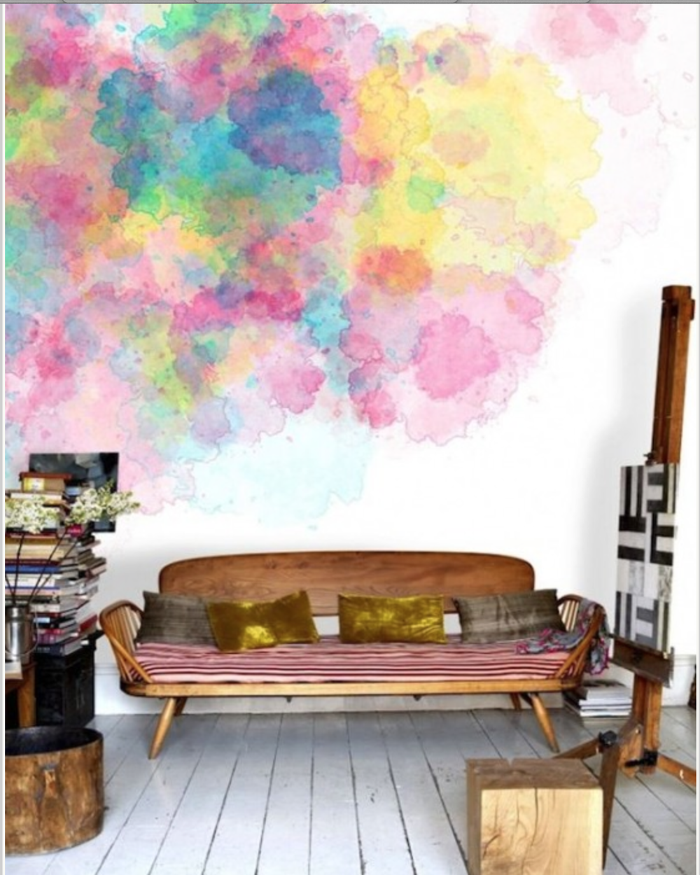 A watercolor wall.... I don't think I could manage this one.  It might just be a big puddle of brown at the end. {Via Pinterest}