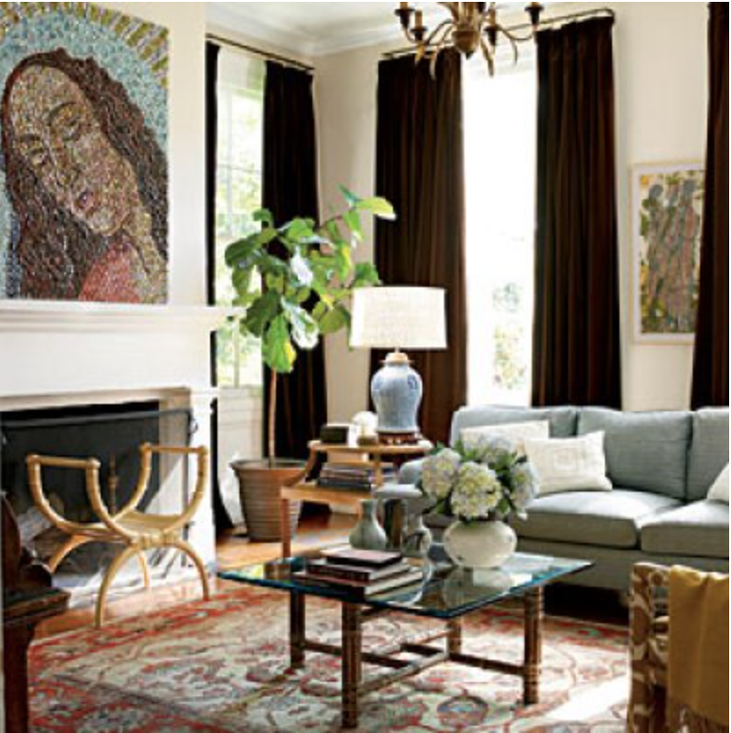 Sometimes just throwing in an unexpected and contrasting piece - like this modern art in this very traditional space - can bring a fantastic freshness to a space. {Via  Southern Living }