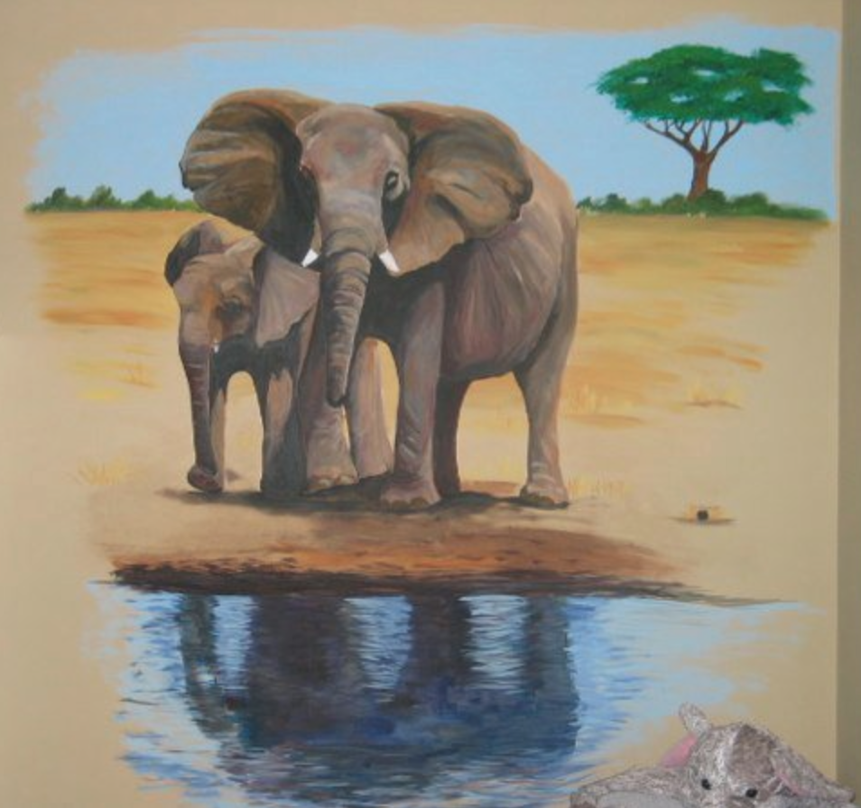 How sweet is this elephant mural?
