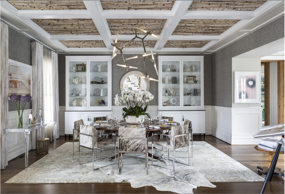 This is pretty incredible.  Jeff Akseizer filled these coffers at the 2015 DC Design House with a surprising element - birch branches.  What a beautiful texture and a lovely contrast to the modern light fixture. {Via  Washingtonian }