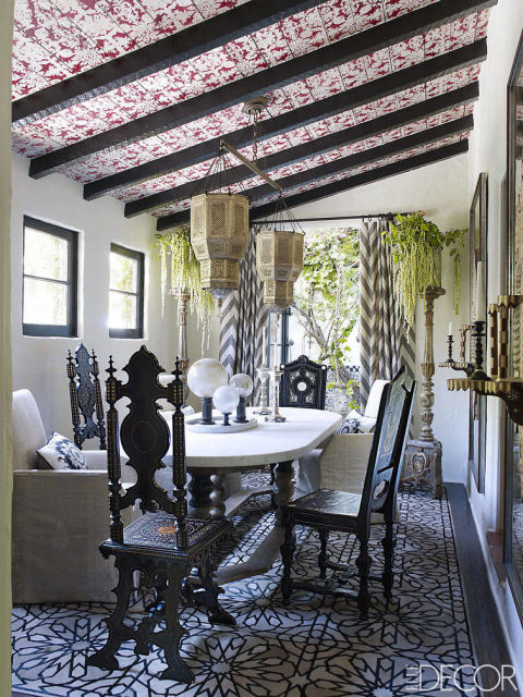 I LOVE this stenciled ceiling by Martyn Lawrence Bullard.  {Via Elle Decor}