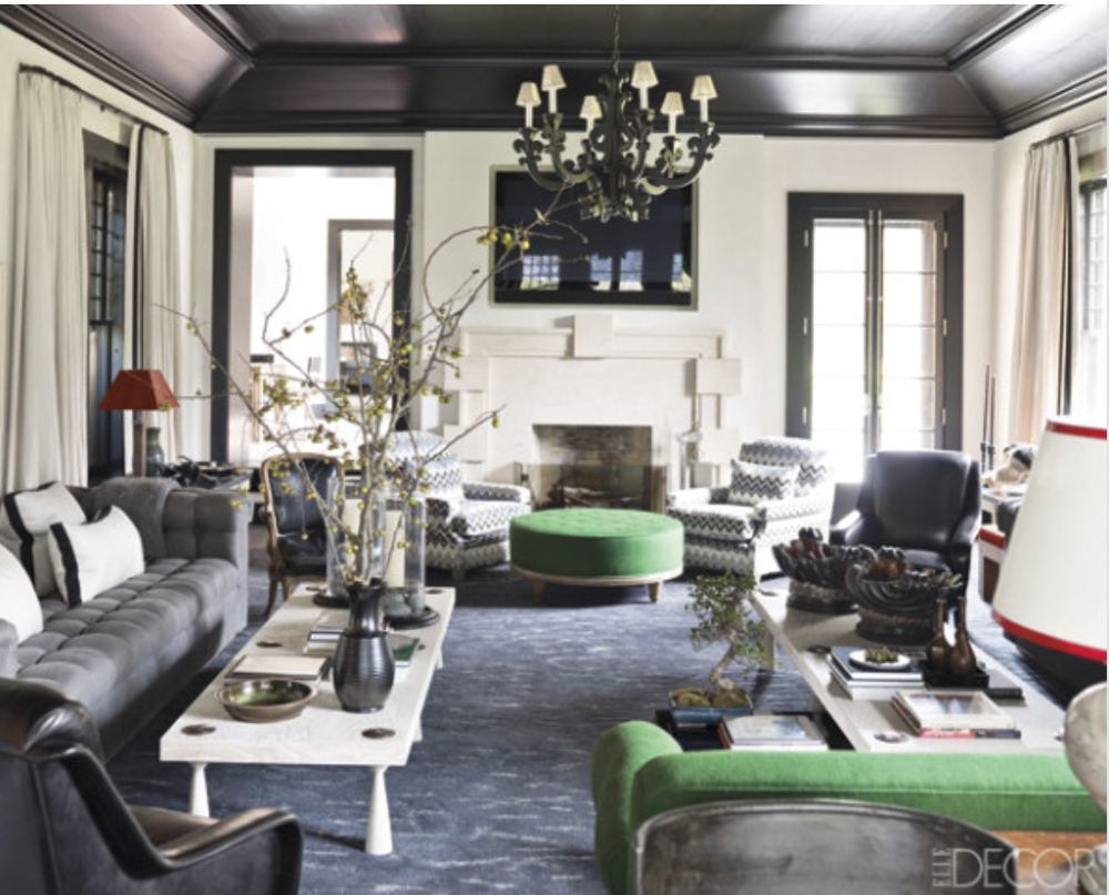 A high gloss, black ceiling is just stunning! {Via Elle Decor}