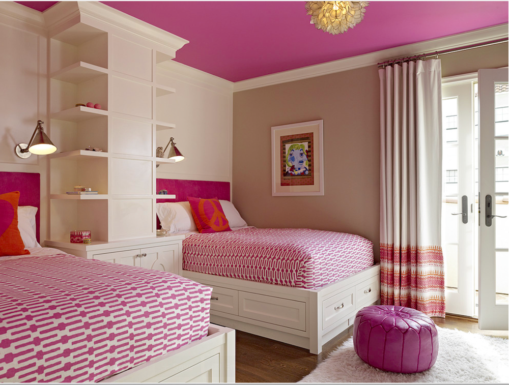 I still love this pink ceiling (actually this whole room) that I spotted on  Houzz  years ago.