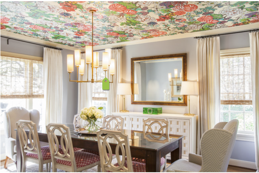 A bold choice - Schumacher's Chiang Mai wallpaper - on the ceiling.  {Via  Houzz }