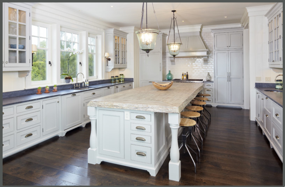 Love the live edge on the island countertop. {Photo courtesy  Kiawah Island }