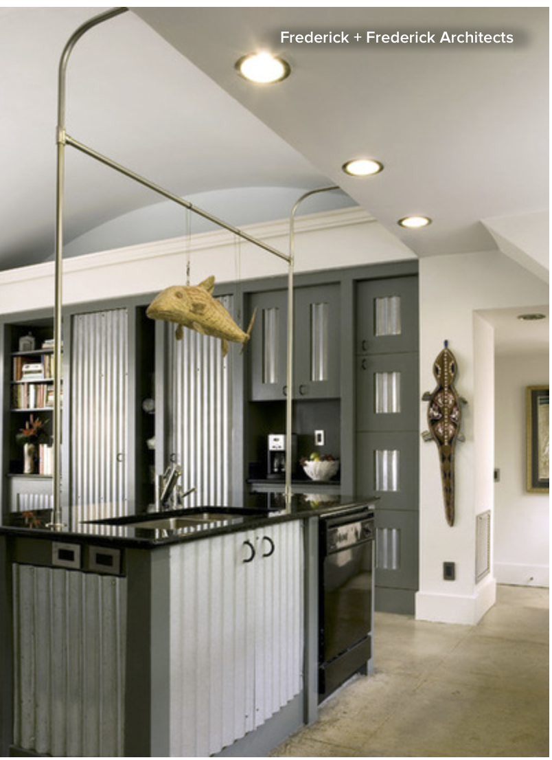 Corrugated metal is an inexpensive material that can dramatically change the look and feel of your cabinets, and most importantly... hide that mess!! {Via Houzz}