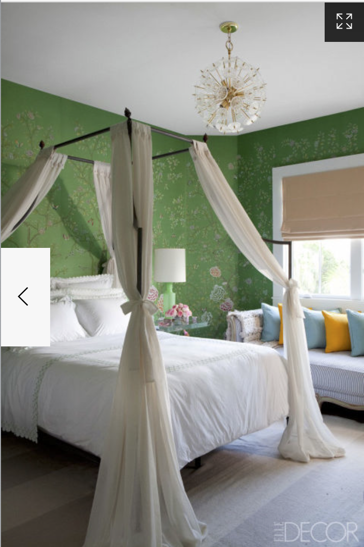 Draping fabrics around the canopy bed creates such a soft, romantic feel.  A gorgeous  Niermann Weeks   canopy bed was used in this little girl's room.  {Via Elle Decor}