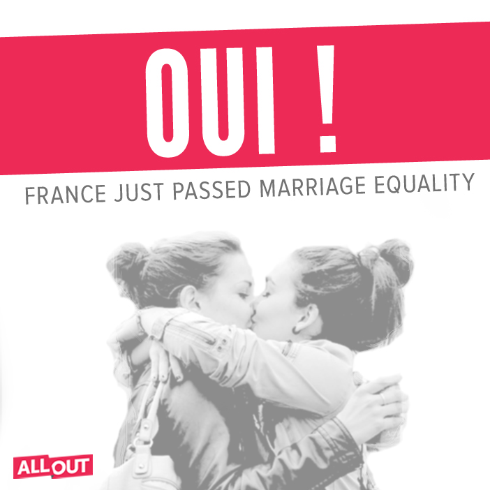 linaliel :      alloutorg :     HUGE day for love. After months of hard work and protest, marriage equality has passed in France — 331 to 225.           I love you, France.